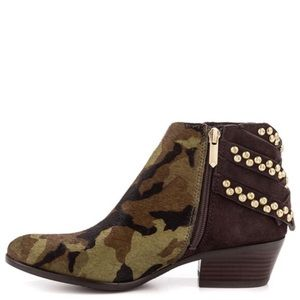 Sam Edelman Penrose Olive Camo Ankle Booties